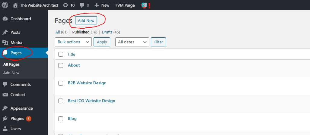 creating new page in wordpress