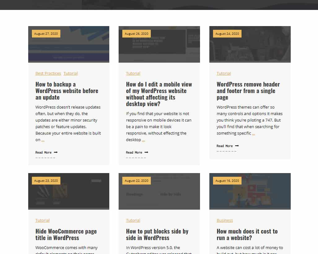 dynamic blog in wordpress