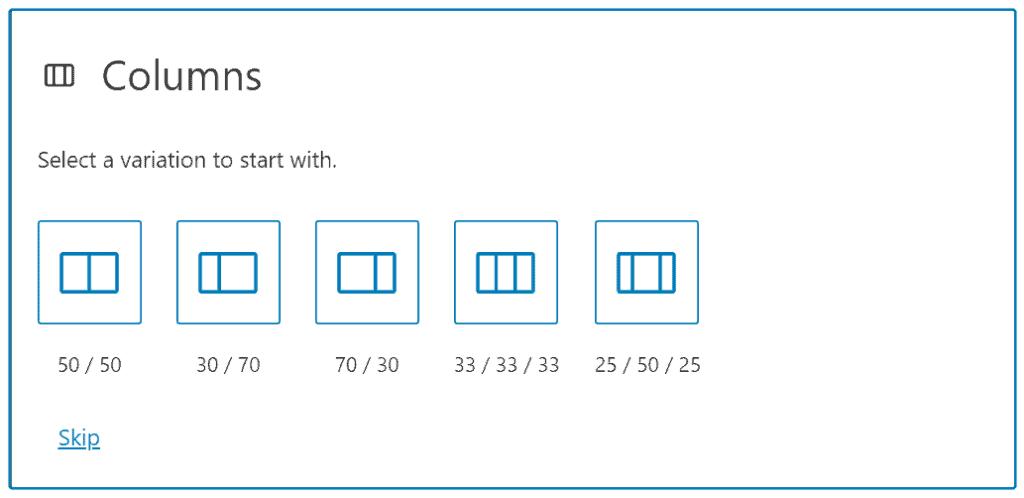 selecting column size in gutenberg