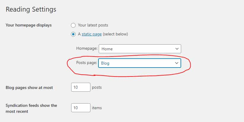 setting page to be blog in wordpress