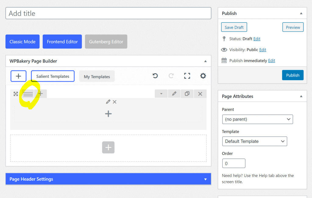 selecting layout in wpbakery