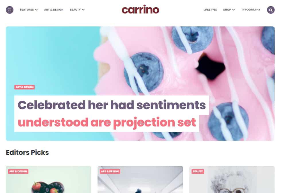 carrino wordpress blog theme