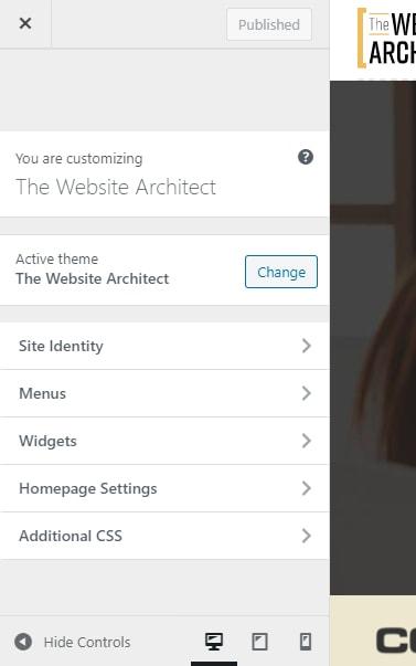 wordpress customer options panel