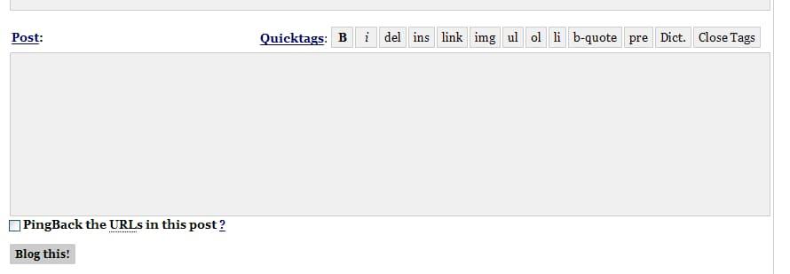 old wordpress content area