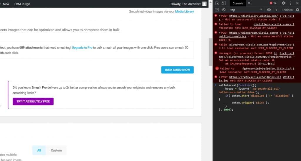 script for auto click smush plugin