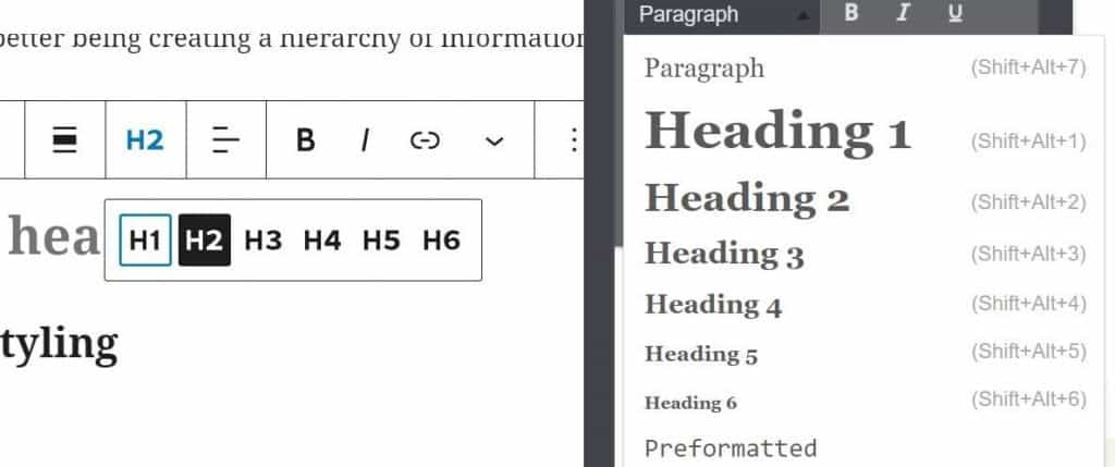 different headings in wordpress