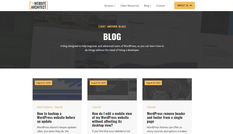 dynamic blog in wordpress
