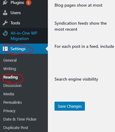 editing reading settings in wordpress