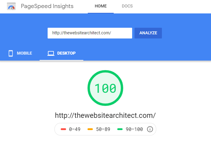 scoring 100 percent on google page speed test